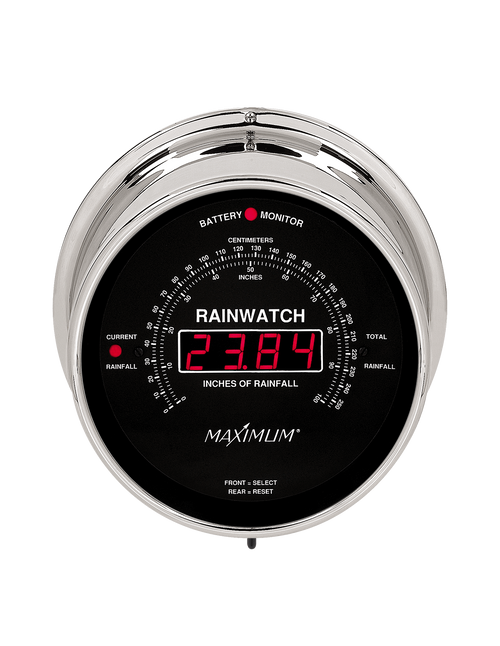 Rainwatch Digital Rain Collector Instrument - Polished Chrome Case - Black Face