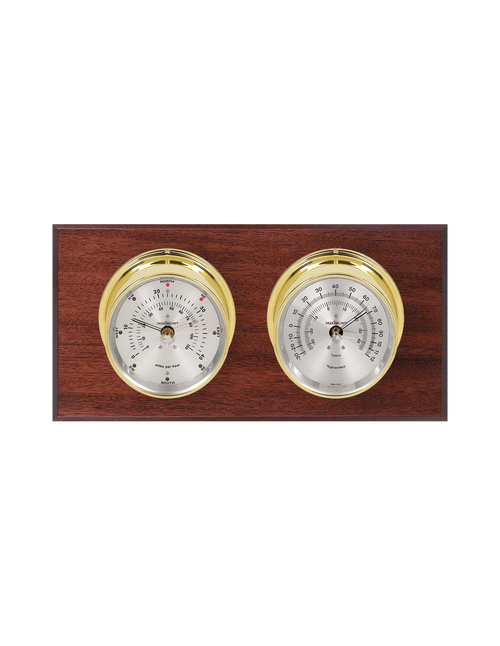 Catalina Wind and Temperature Weather Station - 2 Instruments - Polished Brass Cases  Mahogany Wood - Silver Face - 2 Scales -Reads 0-120 mph