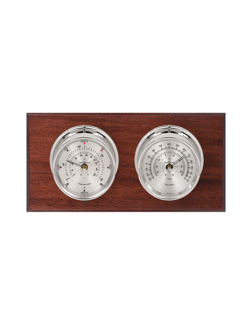 Catalina Wind and Temperature Weather Station - 2 Instruments - Polished Chrome Cases  - Mahogany Wood - Silver Face -  2 Scales -Reads 0-120 mph