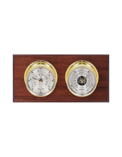 Hatteras Wind and Barometer Weather Station - 2 Instruments - Polished Brass Cases - Mahogany Wood - Silver Face - 2 Scales -Reads 0-120 mph