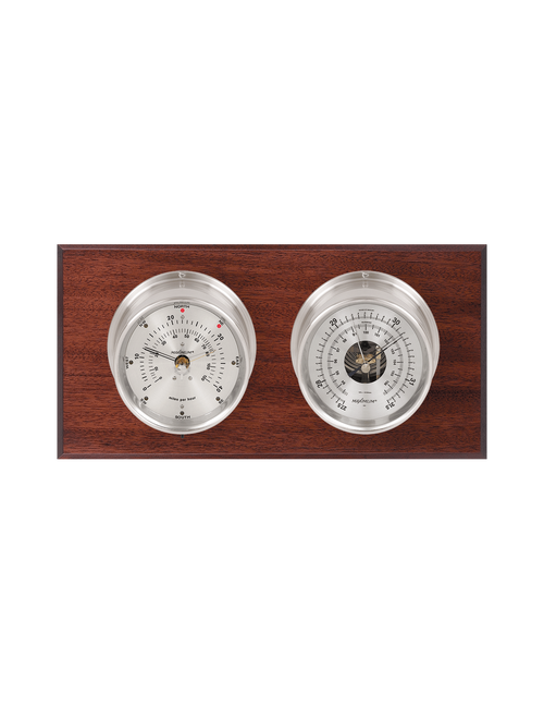 Hatteras Wind and Barometer Weather Station - 2 Instruments - Polished Chrome Cases - Mahogany Wood - Silver Face - 2 Scales -Reads 0-120 mph