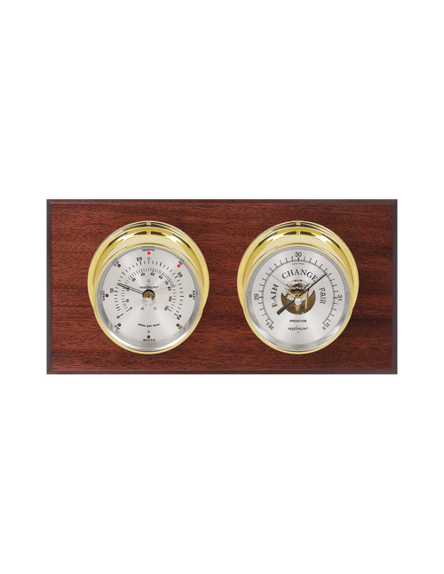 Wind and Barometer Weather Station - 2 Instruments - Polished Brass Cases - Mahogany Wood - Silver Face - 2 Scales -Reads 0-120 mph
