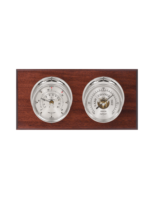 Portland Wind and Barometer Weather Station - 2 Instruments - Polished Chrome Cases - Mahogany Wood - Silver Face - 2 Scales -Reads 0-120 mph