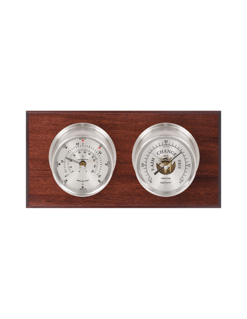Portland Wind and Barometer Weather Station - 2 Instruments - Satin Nickel Cases - Mahogany Wood - Silver Face -  2 Scales -Reads 0-120 mph