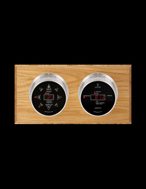 Sorcerer LED Wind, Thermometer, and Barometer Weather Station - 2 Instruments - Satin Nickel Cases - Oak
