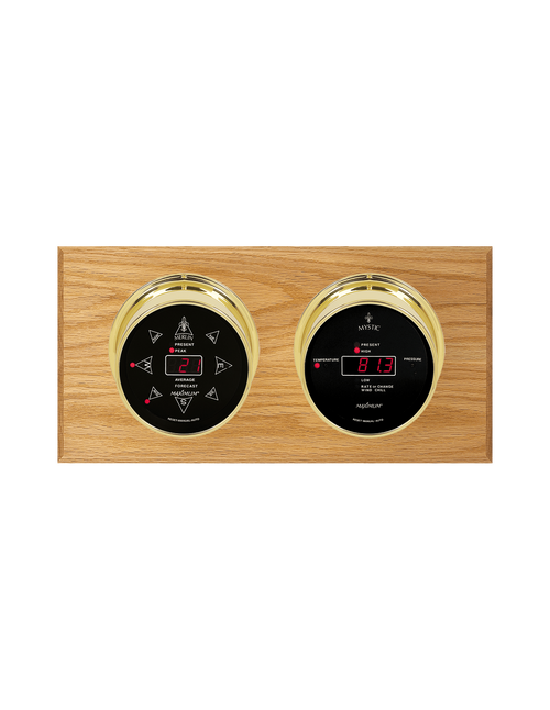 Sorcerer LED Wind, Thermometer, and Barometer Weather Station - 2 Instruments - PVD Brass Cases - Oak