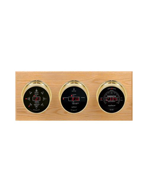 Blackwatch LED Wind, Thermometer, Barometer, and Rainfall Weather Station - 3 Instruments - Polished Brass Cases - Oak