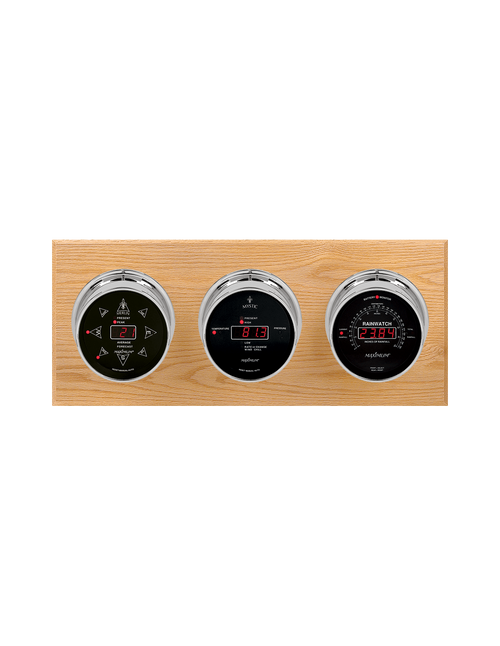 Blackwatch LED Wind, Thermometer, Barometer, and Rainfall Weather Station - 3 Instruments - Polished Chrome Cases - Oak