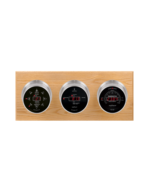 Blackwatch LED Wind, Thermometer, Barometer, and Rainfall Weather Station - 3 Instruments - Satin Nickel Cases - Oak