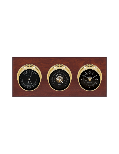 Executive Thermometer, Humidity Reader, Barometer, and Clock Weather Station - 3 Instruments - Polished Brass Cases - Mahogany - Black Face