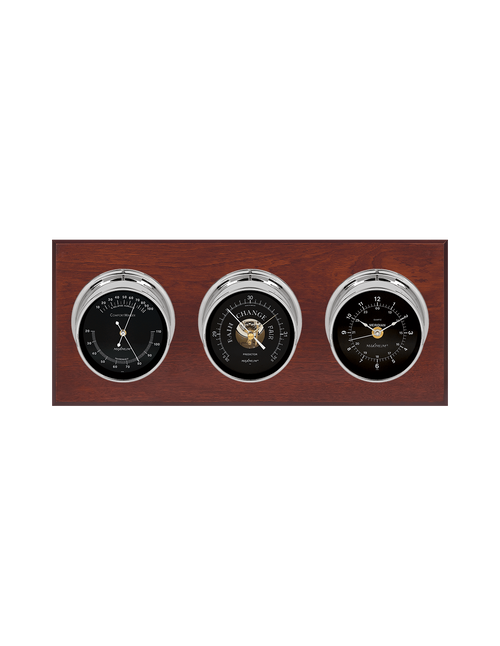 Executive Thermometer, Humidity Reader, Barometer, and Clock Weather Station - 3 Instruments - Polished Chrome Cases  - Mahogany - Black Face