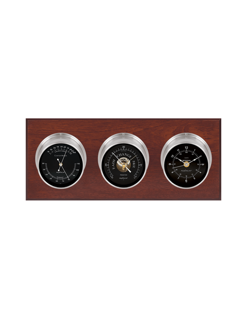 Executive Thermometer, Humidity Reader, Barometer, and Clock Weather Station - 3 Instruments - Satin Nickel Cases - Mahogany - Black Face