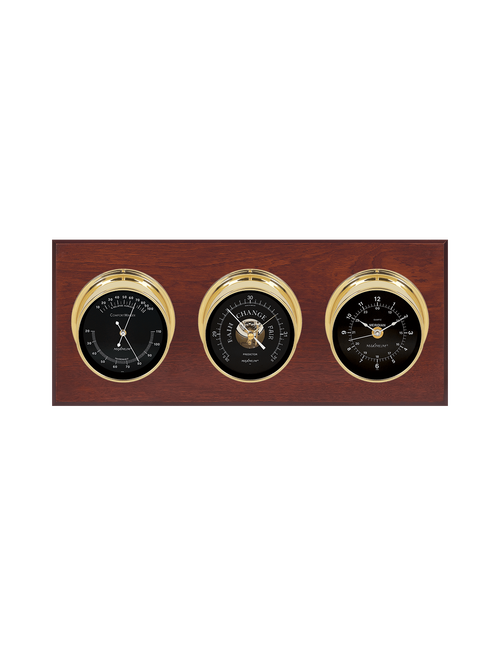 Executive Thermometer, Humidity Reader, Barometer, and Clock Weather Station - 3 Instruments - PVD Brass  - Mahogany - Black Face