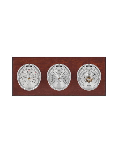Montauk Thermometer, Wind, and Barometer Weather Station - 3 Instruments - Polished Chrome Cases - Mahogany - 2 Scales -Reads 0-120 mph