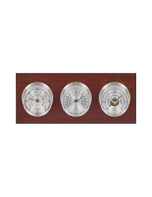 Montauk Thermometer, Wind, and Barometer Weather Station - 3 Instruments - Satin Nickel Cases - Mahogany - 2 Scales -Reads 0-120 mph