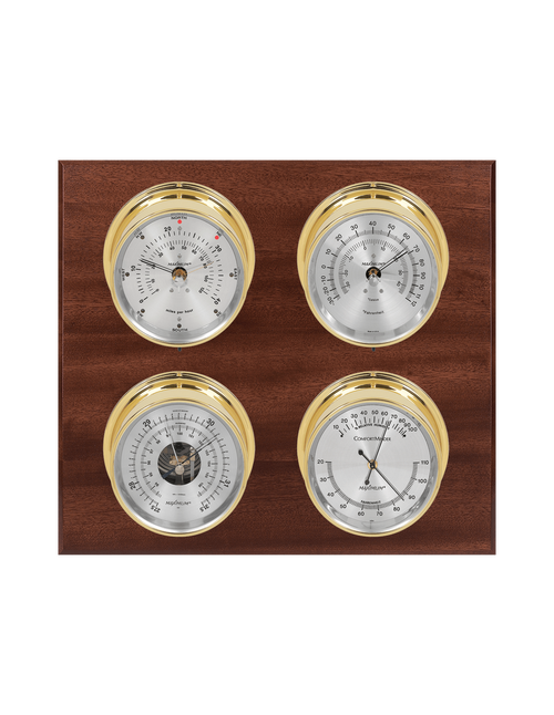 Observer Wind, Thermometer, Barometer, and Humidity Weather Station - 4 Instruments - Polished Brass Cases - Mahogany - Silver Face - 2 Scales -Reads 0-120 mph