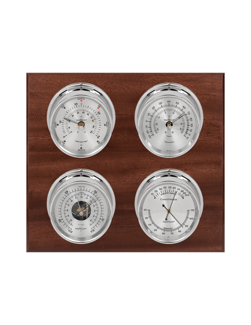 Observer Wind, Thermometer, Barometer, and Humidity Weather Station - 4 Instruments - Polished Chrome Cases - Mahogany - Silver Face - 2 Scales -Reads 0-120 mph