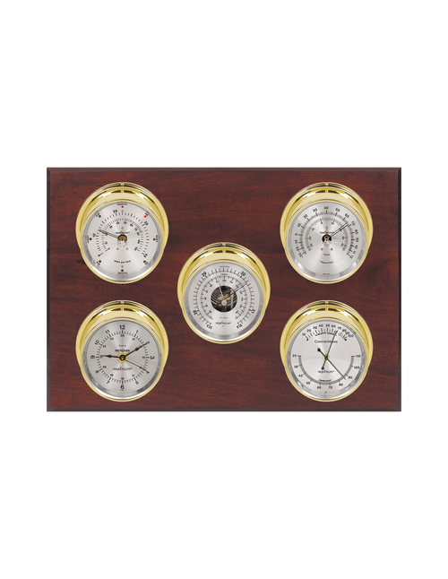 Professional Wind, Thermometer, Barometer, Humidity, and Time Weather Station - 5 Instruments - Polished Brass Cases - Mahogany - Silver Face - 2 Scales -Reads 0-120 mph