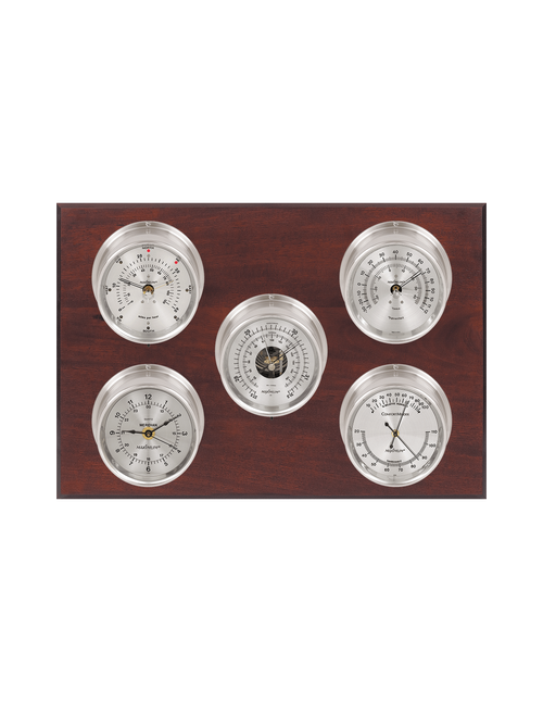 Professional Wind, Thermometer, Barometer, Humidity, and Time Weather Station - 5 Instruments - Satin Nickel Cases - Mahogany - Silver Face - 2 Scales -Reads 0-120 mph