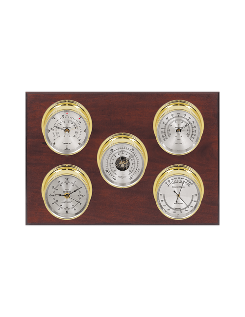 Professional Wind, Thermometer, Barometer, Humidity, and Time Weather Station - 5 Instruments - PVD Brass Cases - Mahogany - Silver Face - 2 Scales -Reads 0-120 mph
