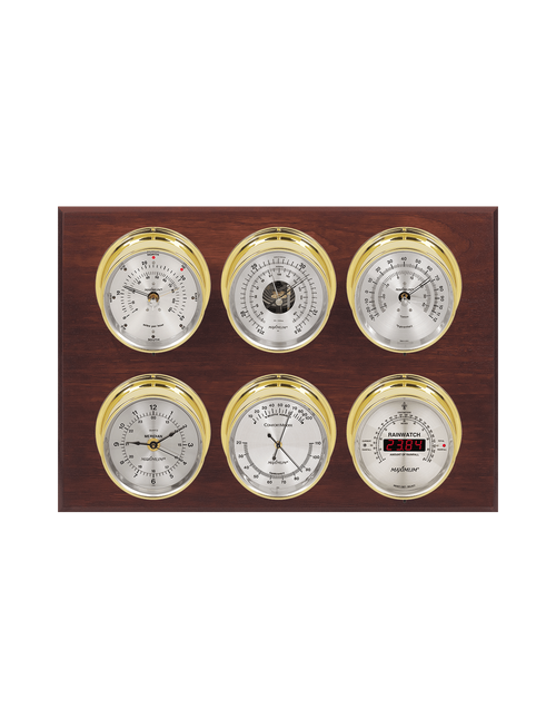 Weathermaster Wind, Thermometer, Barometer, Humidity, Rainfall, and Time Weather Station - 6 Instruments - Polished Brass Cases - Mahogany - Silver Face - 2 Scales -Reads 0-120 mph