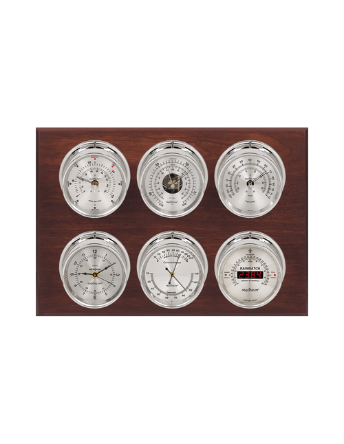 Weathermaster Wind, Thermometer, Barometer, Humidity, Rainfall, and Time Weather Station - 6 Instruments - Polished Chrome Cases - Mahogany - Silver Face - 2 Scales -Reads 0-120 mph