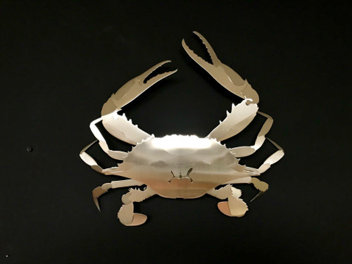 """Blue Crab Stainless Steel Wall Decor - Large - 24"""""""