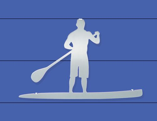 """Male Paddle Boarder Stainless Steel Wall Decor - 16.25"""""""