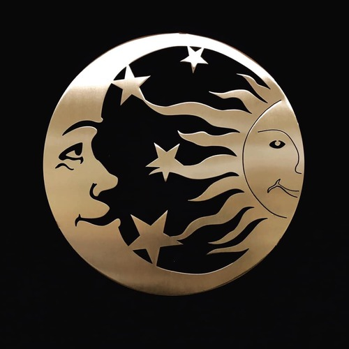 """Sun, Moon, and Stars Stainless Steel Wall Decor – 24"""""""
