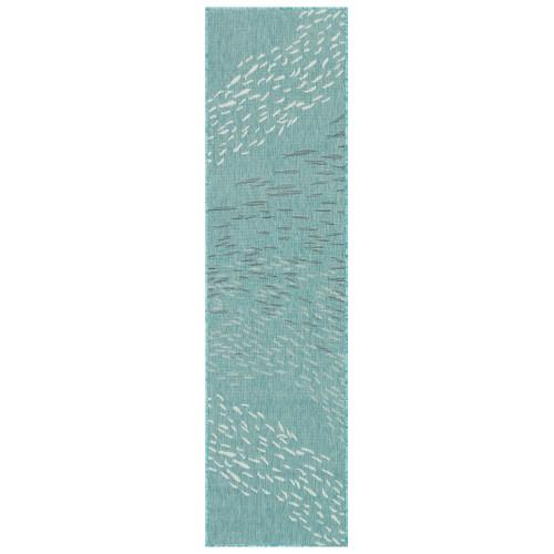 Carmel School of Fish Indoor/Outdoor Rug - Aqua - 7 Sizes