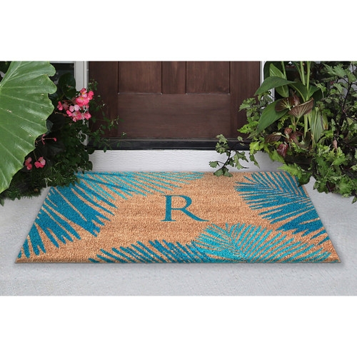 """Dwell Blue Palm Border Indoor/Outdoor Rug - Letter """"R"""""""