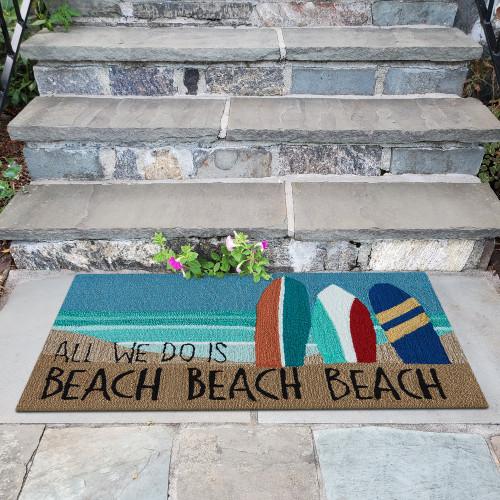 "Frontporch Funny ""Beach Beach Beach"" Indoor/Outdoor Rug - 3 Sizes  - Lifestyle"