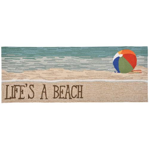 "Frontporch ""Life's a Beach"" Beachball Indoor/Outdoor Rug - 4 Sizes"