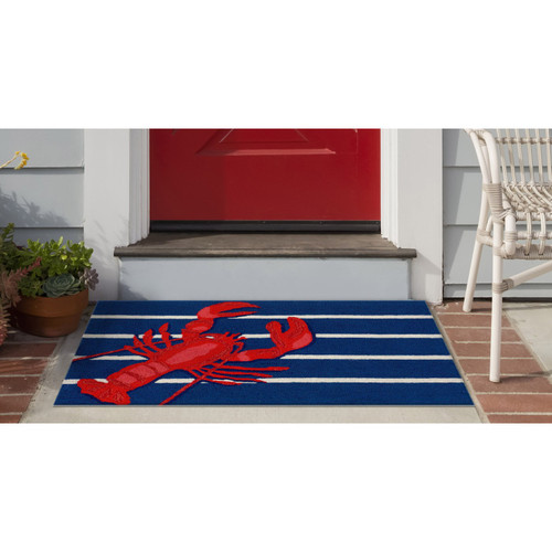 Frontporch Lobster on Stripes Indoor/Outdoor Rug - 3 Sizes - Lifestyle