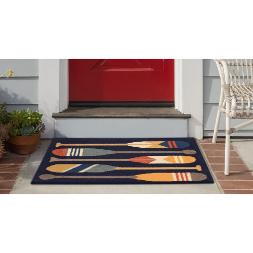 Frontporch Paddles Indoor/Outdoor Rug - Navy - 4 Sizes - Lifestyle