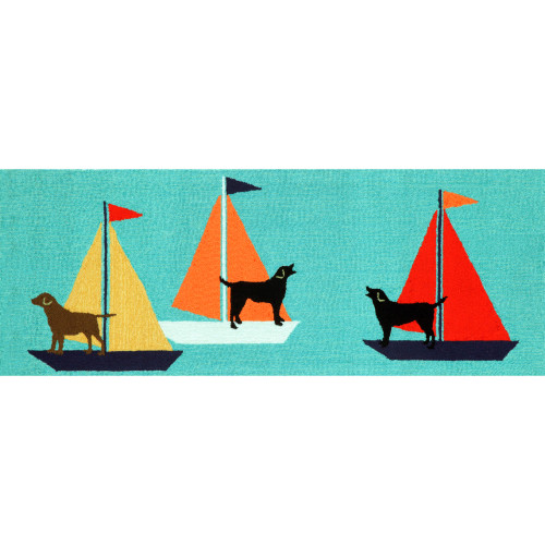Frontporch Sailing Dogs Indoor/Outdoor Rug - Blue - 4 Sizes
