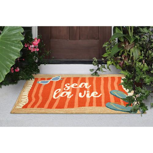 """Frontporch """"Sea La Vie"""" Indoor/Outdoor Rug - Natural - 3 Sizes"""