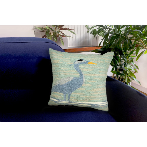 """Frontporch Blue Heron Indoor/Outdoor Throw Pillow - 18"""" Square"""