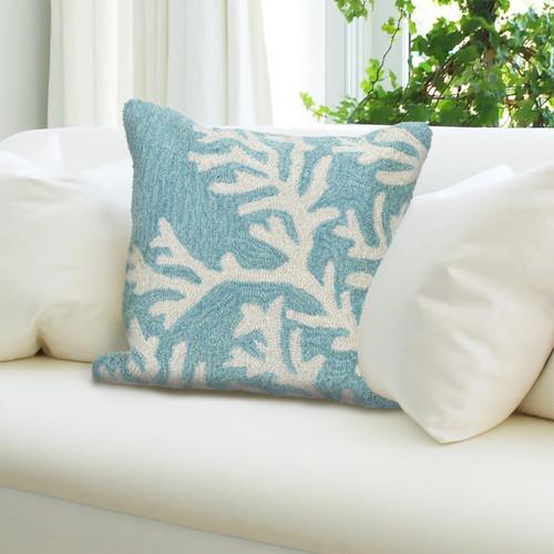 "Frontporch Coral Indoor/Outdoor Throw Pillow - Aqua - 18"" Square"