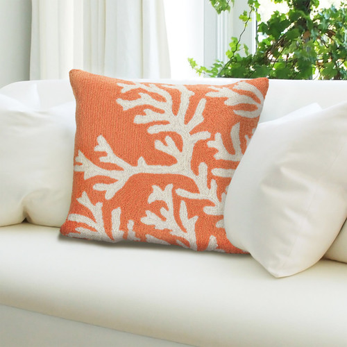"""Frontporch Coral Indoor/Outdoor Throw Pillow - Coral - 18"""" Square"""