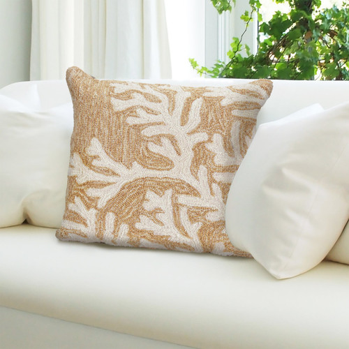 """Frontporch Coral Indoor/Outdoor Throw Pillow - Neutral - 18"""" Square"""