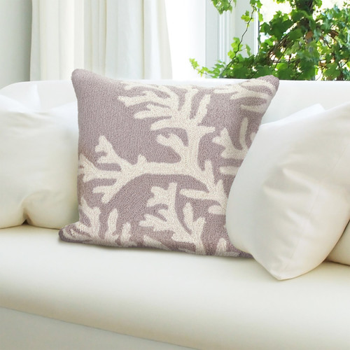 """Frontporch Coral Indoor/Outdoor Throw Pillow - Silver - 18"""" Square"""