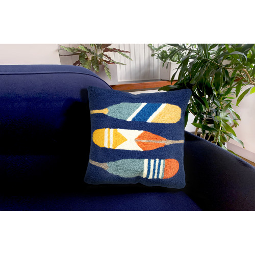 """Frontporch Paddles Indoor/Outdoor Throw Pillow - Navy - 18"""" Square"""