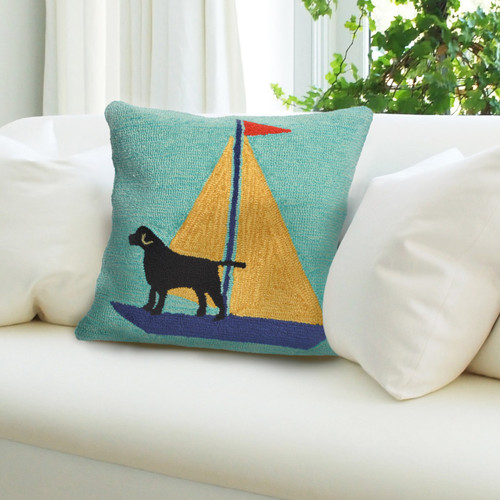 """Frontporch Sailing Dog Indoor/Outdoor Throw Pillow - Yellow - 18"""" Square"""