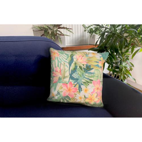 "Illusions Paradise Indoor/Outdoor Throw Pillow - Pastel - 18"" Square"