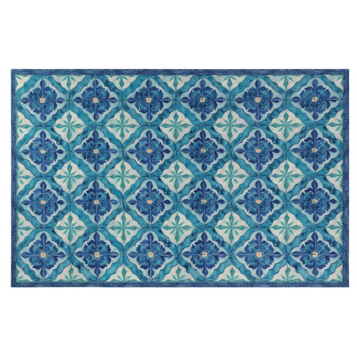 Illusions Madrid Indoor/Outdoor Rug - Ocean - 6 Sizes