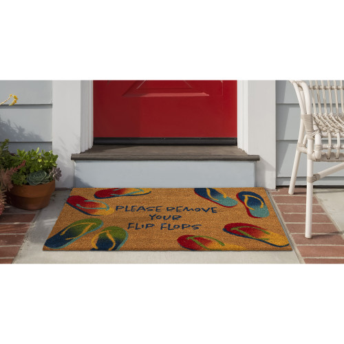 """Natura """"Please Remove Your Flip Flops"""" All Natural Indoor/Outdoor Rug  - Lifestyle"""