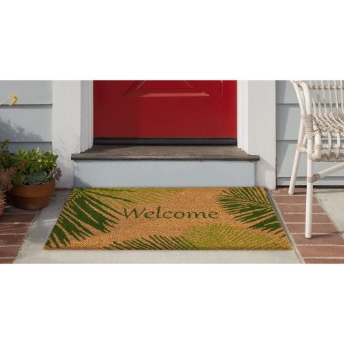 """Natura Green Palm """"Welcome"""" All Natural Indoor/Outdoor Rug - 2 Sizes - Lifestyle"""