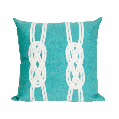Visions II Aqua Double Knot Indoor/Outdoor Throw Pillows - 2 Sizes Avail