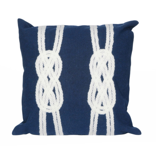 Visions II Navy Double Knot Indoor/Outdoor Throw Pillows - 2 Sizes Avail